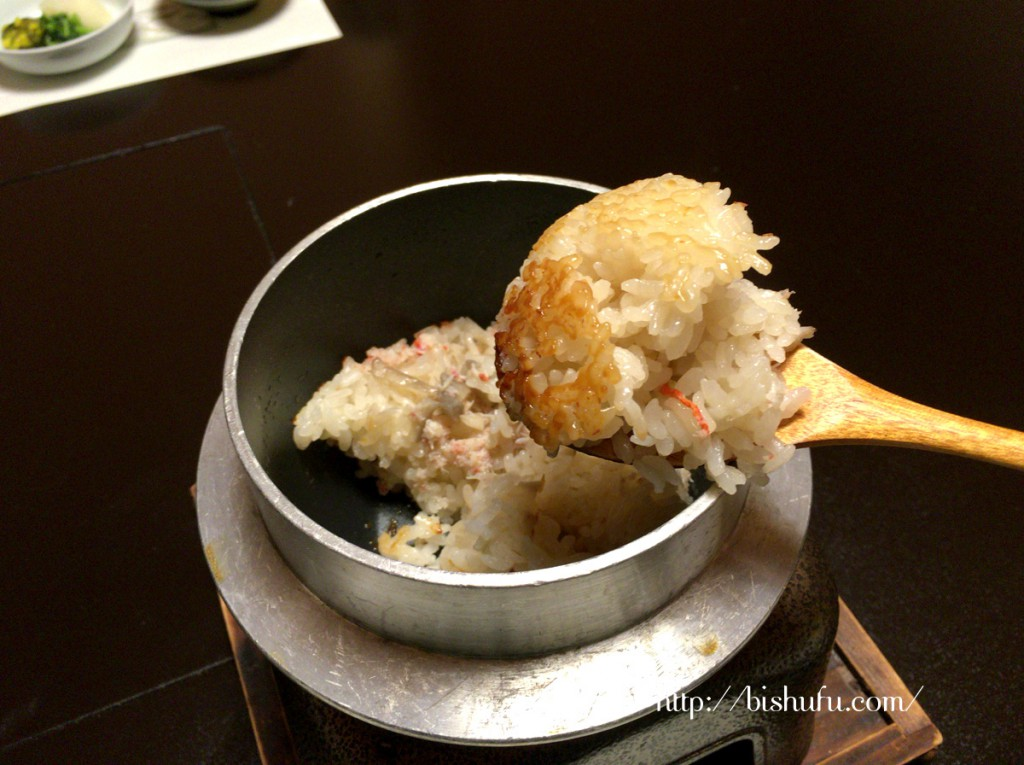 蟹の釜飯のおこげ