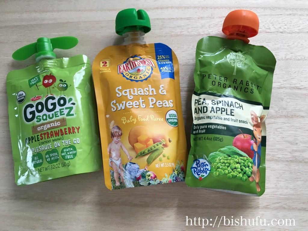 「GOGO SQUEEZ」、「squash sweet peas」、「PETER RABBIT ORGANICS (ピーターラビット・オーガニックス)のpea spinach and apple(グリーンピース、ほうれん草、りんご)