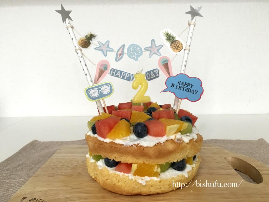2歳誕生日の手作りバースデーケーキ