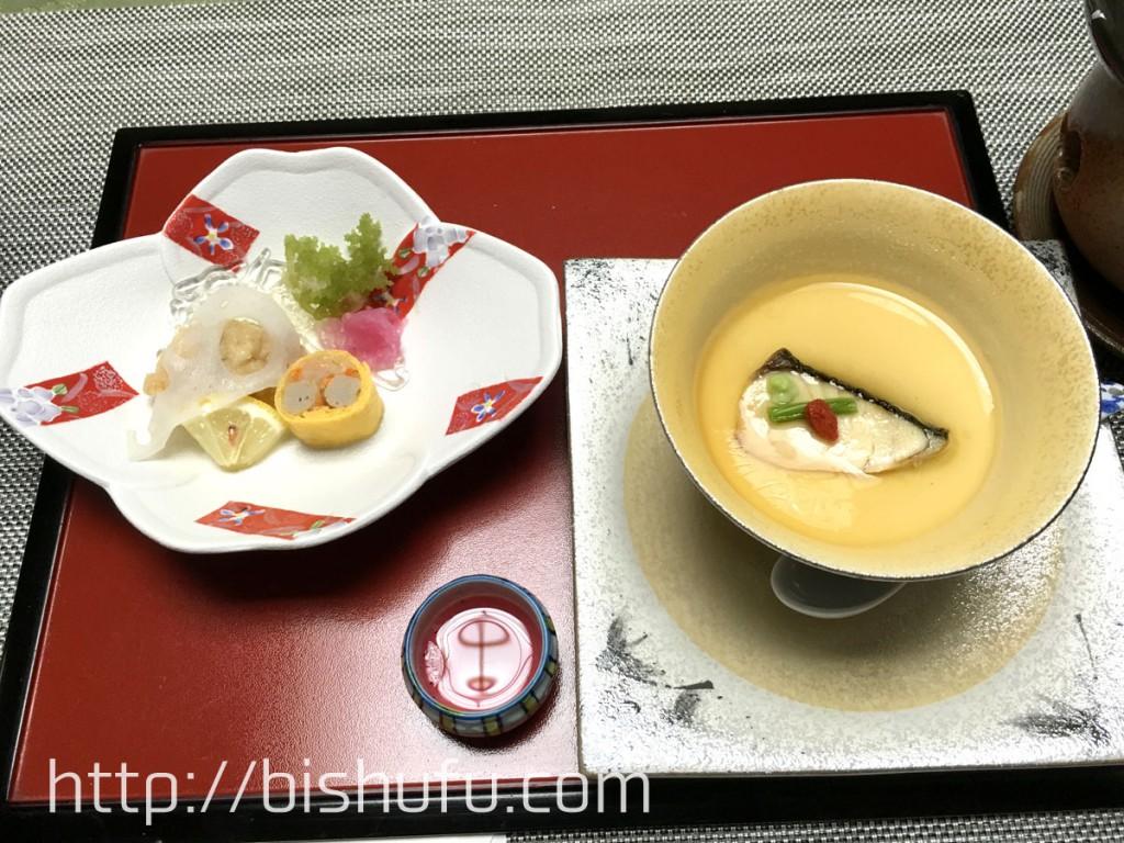 酢物と池魚の和フラン(洋風茶碗蒸し)